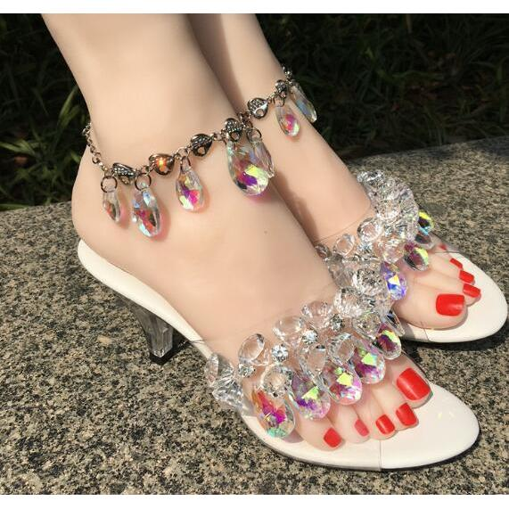 ... 2018 New Clear transparent PVC Crystal Summer Sandals Sexy Open Toe Women  HIgh Heel Pumps Shoes 340788b1414e