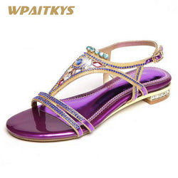 2018 New Crystal Low-heeled Shoes Woman Wedding Banquet Purple Golden Elegant Rhinestone Buckle Strap Fashion Women's Shoes