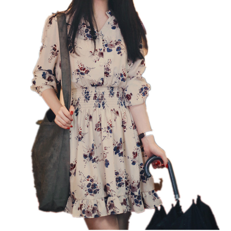 41f1e289070 2018 New Cute Floral Print Chiffon Dress Women s Long Sleeve V-Neck Vintage  Summer Dresses ...