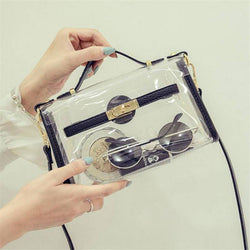 2018 New Design Transparent Bag Transverse Clear Platinum Package Summer Beach Bag Small Tote Shoulder Bag Women Crossbody Bags