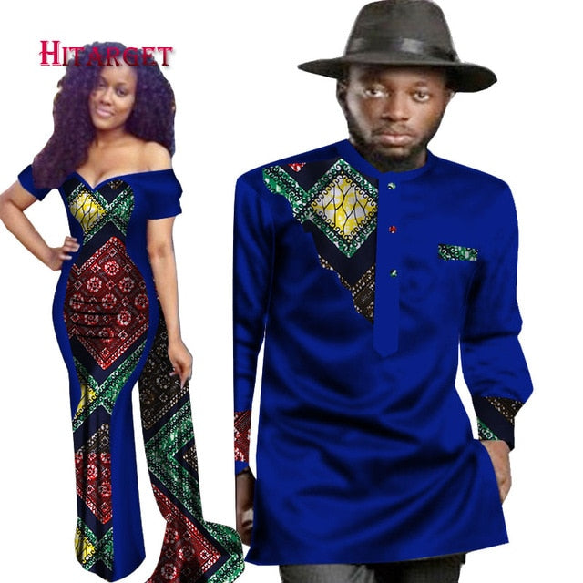 2018 New Designs Couple For Lovers Mrs Men Shirt African Print Clothes Owame
