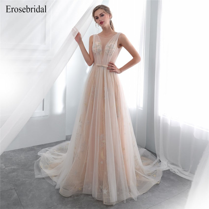 2018 New Evening Dress Long Pattern Evening Gowns A Line Formal