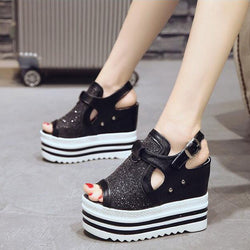 2018 New Fashion Girl Female  Black Sliver High Heels Platform Wedge Sandals Shoes Women Summer Open Toe Platform Sandals  LC-96