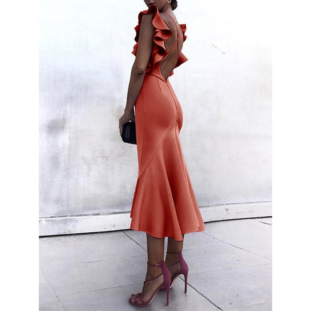 b75bfab2b7 2018 New Fashion Summer Women Sexy Trumpet Elegant Bodycon Party ...