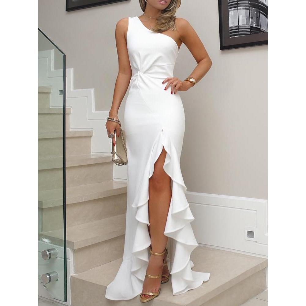 2018 New Fashion Women Summer Elegant Asymmetrical Party Bodycon Dress One  Shoulder Twisted Ruffles Slit Hem ... 6648ee6a6e2d