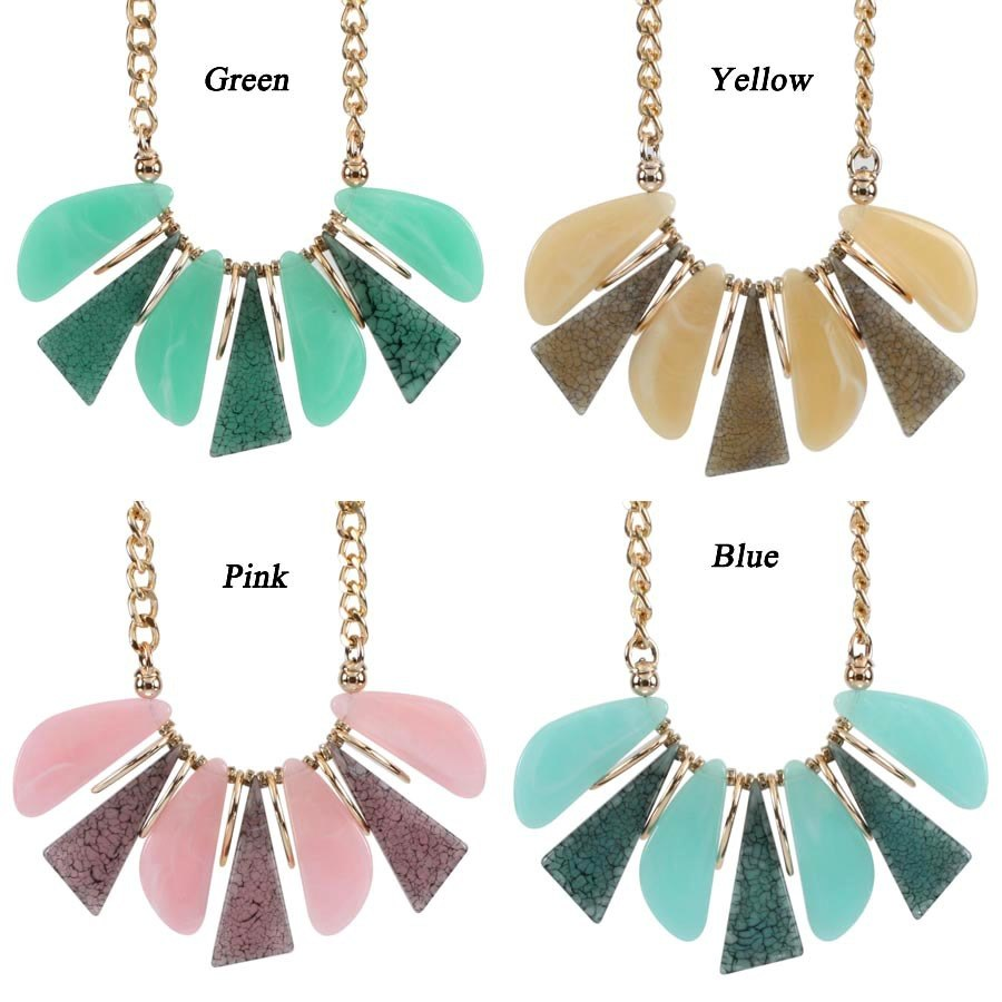 2018 New Gold Chain Big Resin Jewelry Sets for Women Fashion Geometric  Irregular Leaf Grain Necklace and Earrings Dropshipping