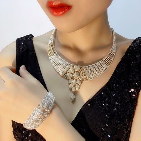 2018 New High Fashion Dubai Jewelry Set Silver Gold Color Nigerian Wedding African Beads Jewelry Sets Parure Bijoux Femme