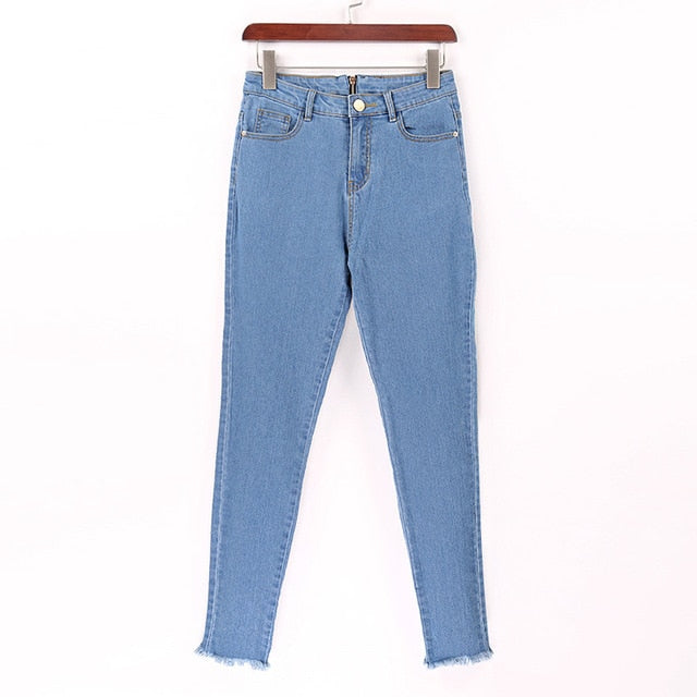 01e80ad94d26 ... Jeans Women Basic Classic High Waist Skinny Pencil Blue. Hover to zoom