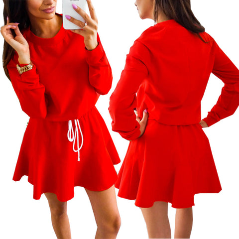 2018 New Hot Spring Autumn Wear Long Sleeve Tie Waist Solid Color Dress Women Casual Sweet Dress Party Slim A Line Red Dresses