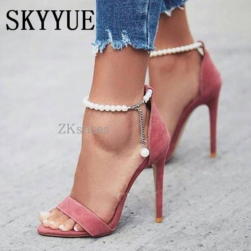 0373a8ccd9e7cd ... 2018 New Pink Pearl Beading Women HIgh Heel Sandals Sexy Open Toe Women  Gladiator Sandals Shoes ...