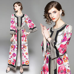 2018 New Runway Maxi Brand Autumn Fashion dress Folk Style Vintage Print Luxury Elegant Women Party Long Dresses Vestidos robes