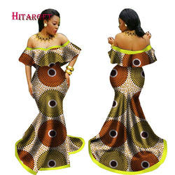 2018 New Summer African Tribal National Printing Slash Neck Sexy Long Dresses for Women Africa Bazin Riche Maix Dresses WY2411