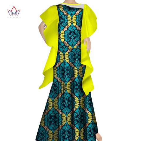 2018 New Women Draped Long Dresses Bazin Riche African Lace Print Dresses for Women Plus Size African Style Clothing WY271 1