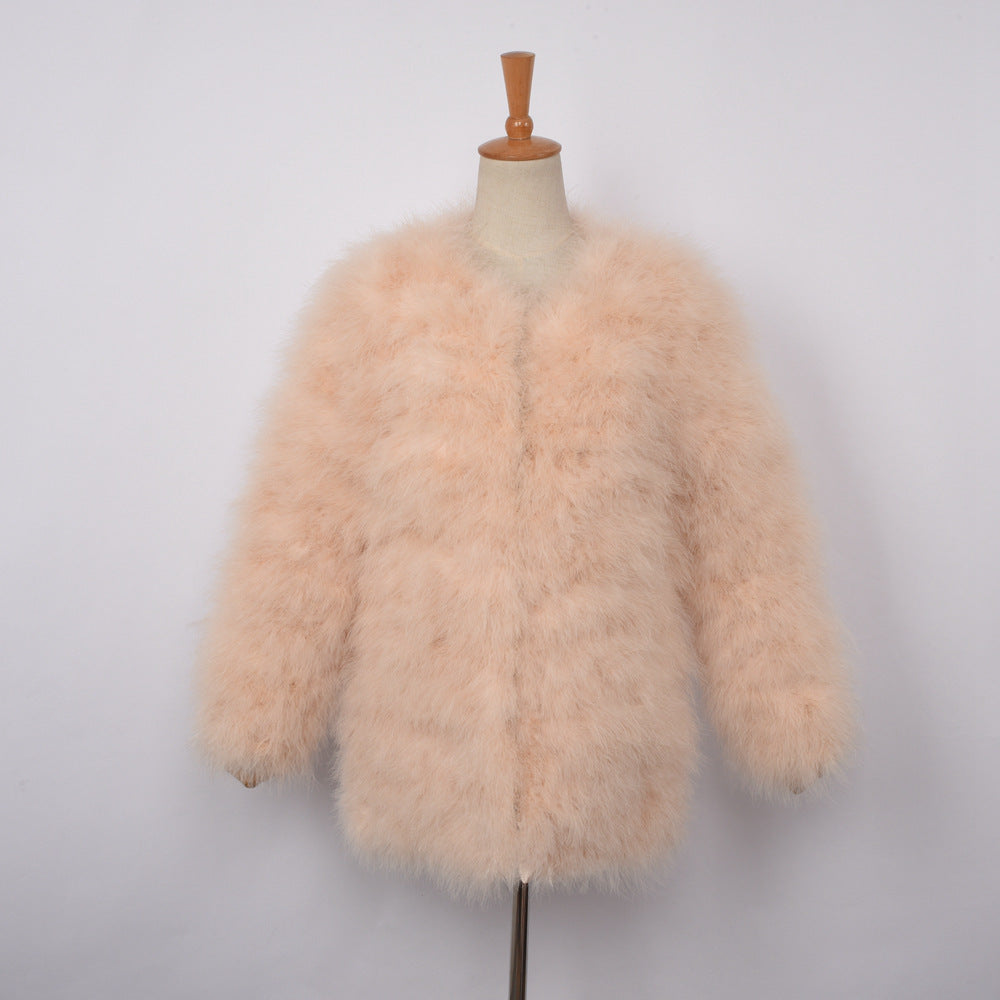 db2a2494b0e ... Coat Long Style Genuine Ostrich Feather Fur Winter Warm Jacket Fashion.  Hover to zoom
