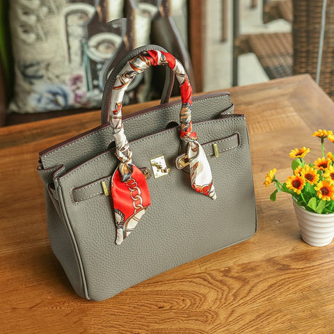 2018 New Women's bag Platinum bag Real Cow Leather Litchi print Big Brand handheld Foreign Trade