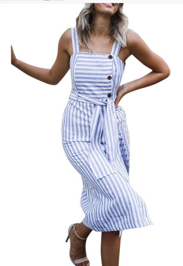 a33ae5faa4 2018 New fashion women s blue and white striped Sashes dress casual Sexy  Summer dresses women button. Hover to zoom