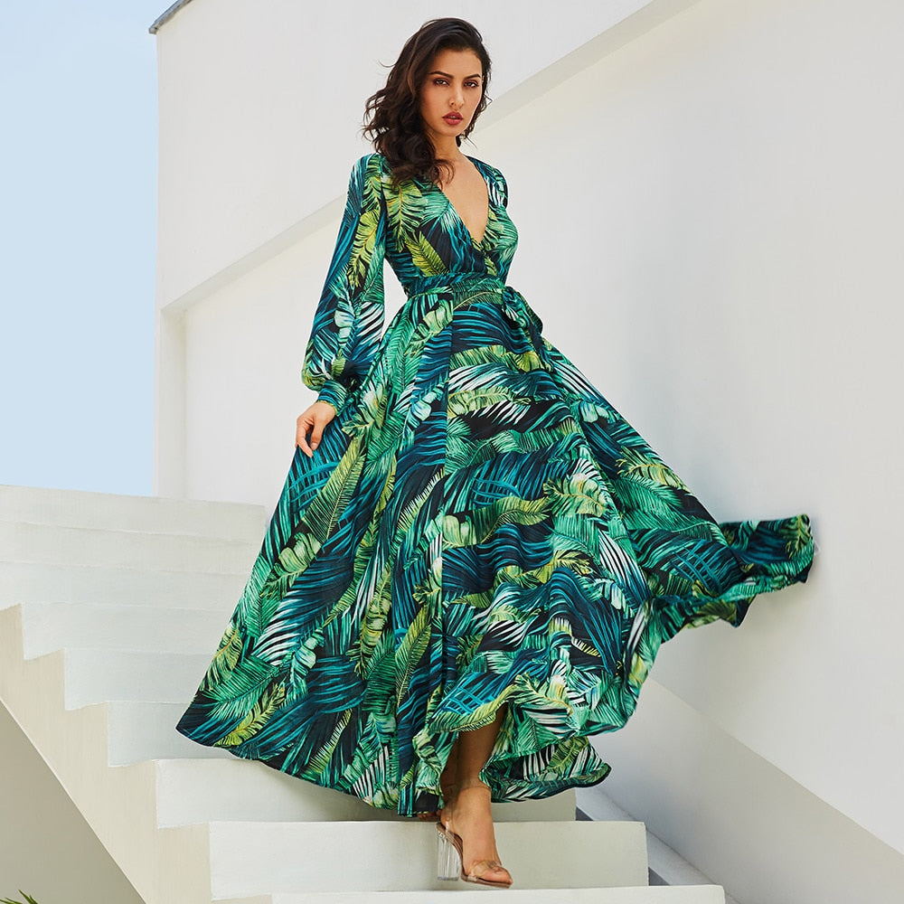 2018 New women maxi dress boho Tropical v neck lace up green print plus  size dress summer dress beach casual holiday long dress