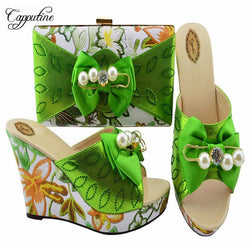 2018 Newest African Flowers Shoes With Bag To Match Sets 2018 Italian Pumps Slipper Shoes With Purse Set For Party Usage MM1063