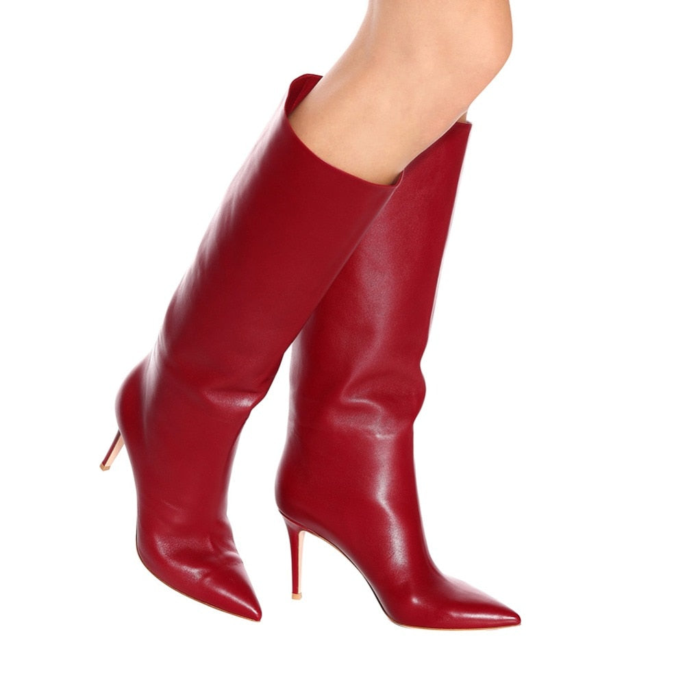 3bd31451257b 2018 Newest Pink Knee High Boots Black Shaft Tall Boots Ladies Winter White  Shoes Cute Red. Hover to zoom