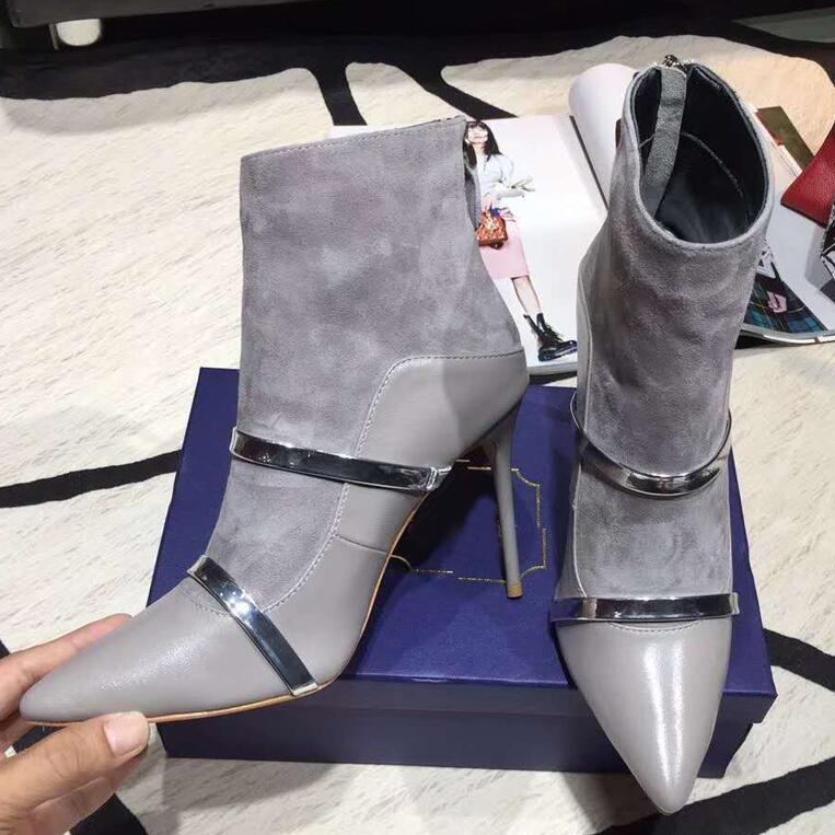 5e8963c3f5f ... 2018 Newest Sexy Ankle Boots Woman Pointed Toe Suede Real Leather  Patchwork High Heel Boots Women