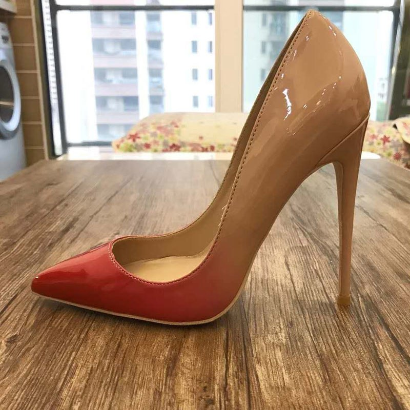 f4abbf7bc26 2018 Nude Red Patent Leather High Heels Woman Pointed Toe 12CM 10CM ...