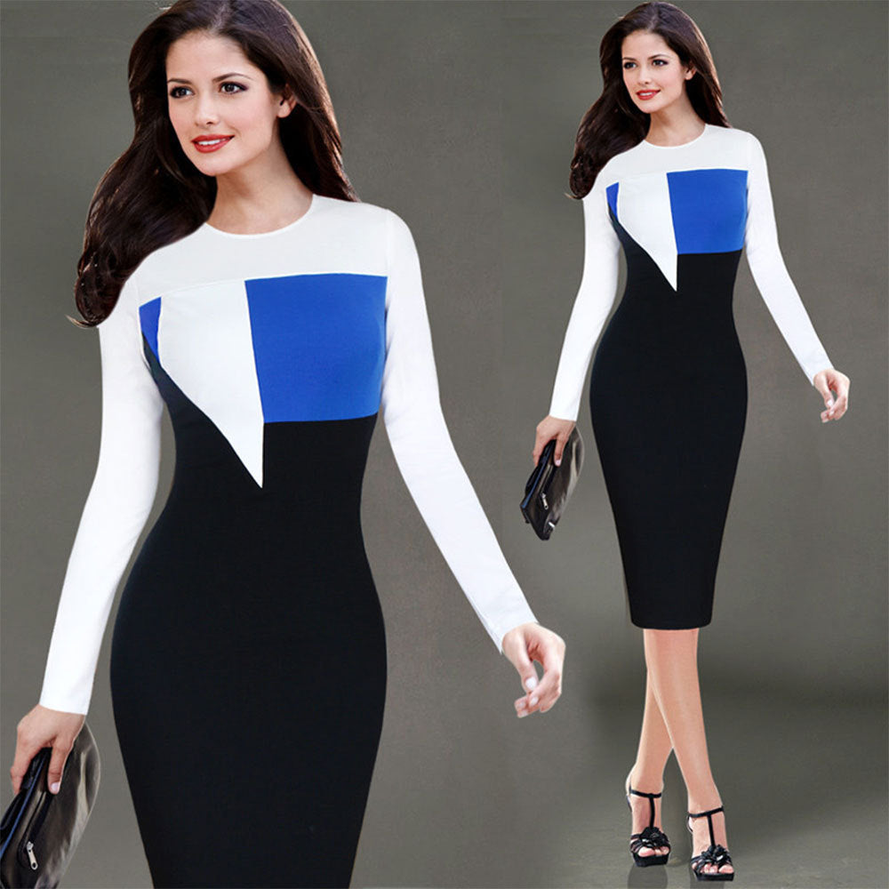 cbae2e5024731 2018 Office Lady Long Sleeve One Piece Tunic Patchwork Office Dress Casual  Bodycon Zip Back Women Midi Work Pencil Dress