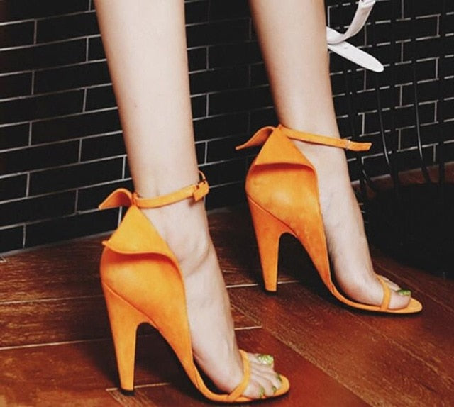921094b698 2018 Orange Suede Gladiator Sandals Woman Open Toe Ankle Strappy High Heel  Shoes Woman Fashion Party Shoes