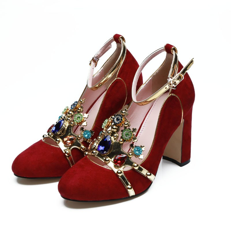 0418f9e027732d 2018 Runway Hand-made Jewels High Heels Woman Round Toe Diamond Crown Decor  Star Sequins. Hover to zoom
