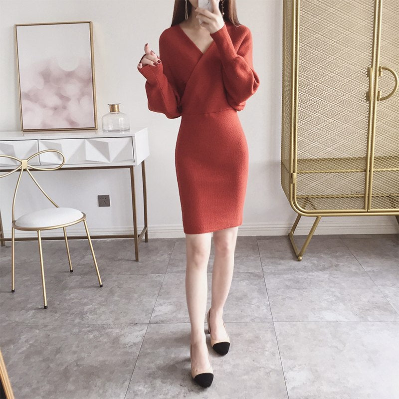 2018 Rushed Polyester Solid Vestidos De Fiesta Winter New Knit Dress