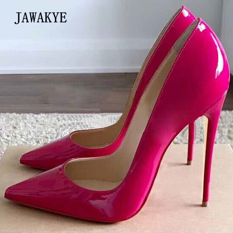 59b931c8d Hover to zoom · 2018 Sexy Rosy Red Patent Leather High Heel Shoes Woman  Pointed Toe Shallow Mouth ...