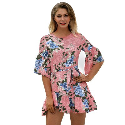 777a380f56e ... Image of 2018 Sexy Short Women s Floral Dress New Trendy Lotus Leaf Hem  Printed Casual Dress ...