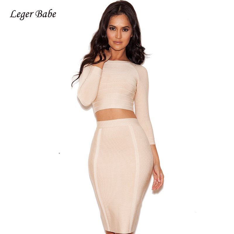 cb868d30ec93e 2018 Sexy Women 2 Two Piece Set Bandage Dress Long Sleeve O Neck ...