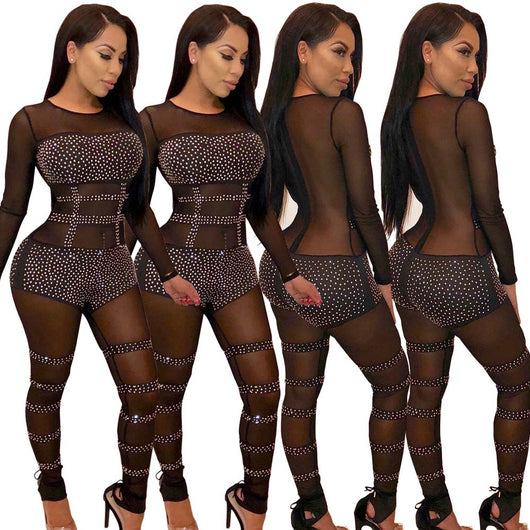 2018 Sexy black Sheer Jumpsuit transparent mesh Romper Women Long Sleeve See Through Sequined Nightclub Party Bodycon Overalls
