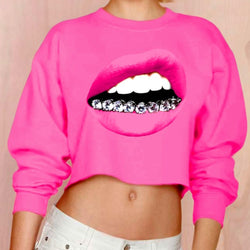 2018 Spring Autumn Barbie Pink Lip Big Mouth Print Long Sleeve Hoodies Fashion  Young Girl Punk Rock Hip Hop Shirt Pullovers