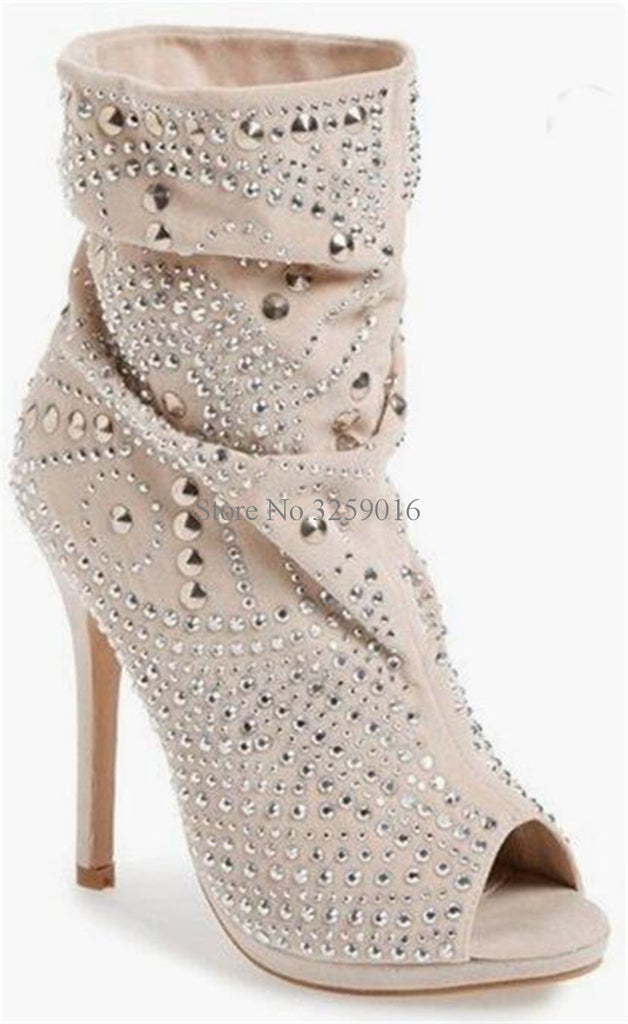 c72421961 2018 Spring New Fashion Women Open Toe Spike Short Gladiator Boots Slip-on  Rivet High. Hover to zoom