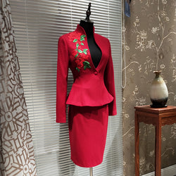 2018 Spring Thin Woolen Suit Chinese Embroidery Office Lady High End Skirt Suits Handmade Customized Blazers Suits Women