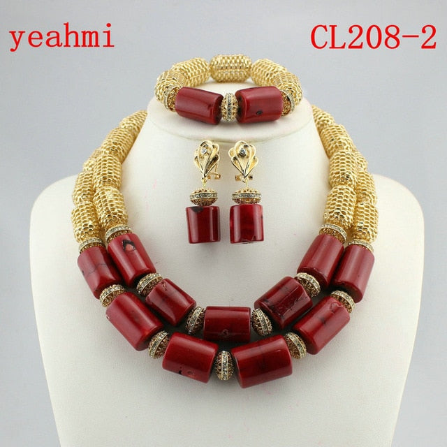 2018 Stylish Red African Costume Jewelry Set Nigerian Wedding African Coral  Beads Jewelry Set Handmade Free Shipping CL208-1