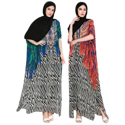 2018 Summer American Style Loose Print Ethnic Style Long Women Dress Ethnic Style Batwing Sleeve African Women Clothes