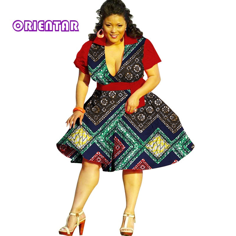 2018 Summer Bazin African Dresses for Women Dashiki African Wax Print Short  Sleeve Dresses Traditional Clothing Plus Size WY2878 1