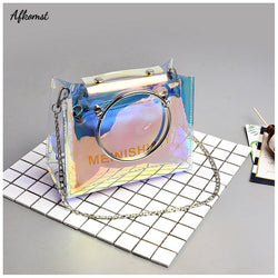 2018 Summer Fashion Clear Transparent Bag For Women Mini Small PVC Holographic Messenger Bag Composite Beach Bags Female Handbag