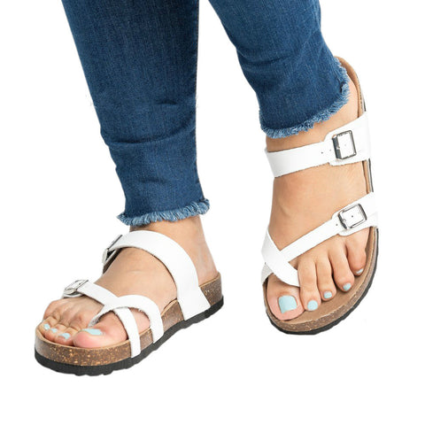 2018 Summer Fashion Cork Shoes Women Casual Gladiator Flat With Mid High Heels Buckle Women Sandals