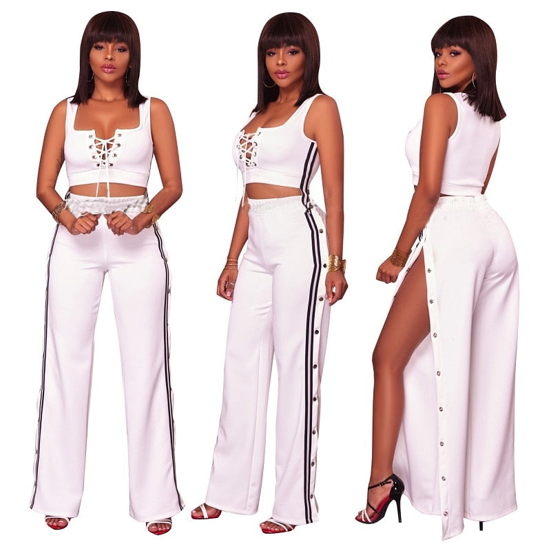 5a43a4228ee5 ... 2018 Summer Fashion Women Sexy clothes Plus size two piece set crop top  Cropped Tops split ...