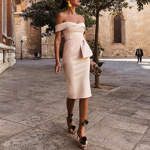 a3b9dca3 ... Image of 2018 Summer New Fashion Work Wear Dress Beige Solid Formal  Asymmetrical Party Dress Off