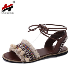ba644e180c40 2018 Summer New Women s Shoes National Style Flow Su Mao Ball Holiday Wind  Bohemian Bandage Flat ...