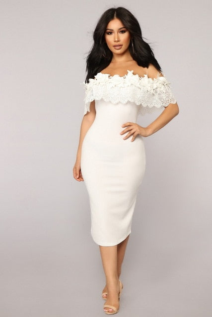 f32d294b6ec91 Hover to zoom · 2018 Summer Off The Shoulder Midi Bodycon Dress Sexy  Ruffles Strapless African Women Celebrity Party Dresses