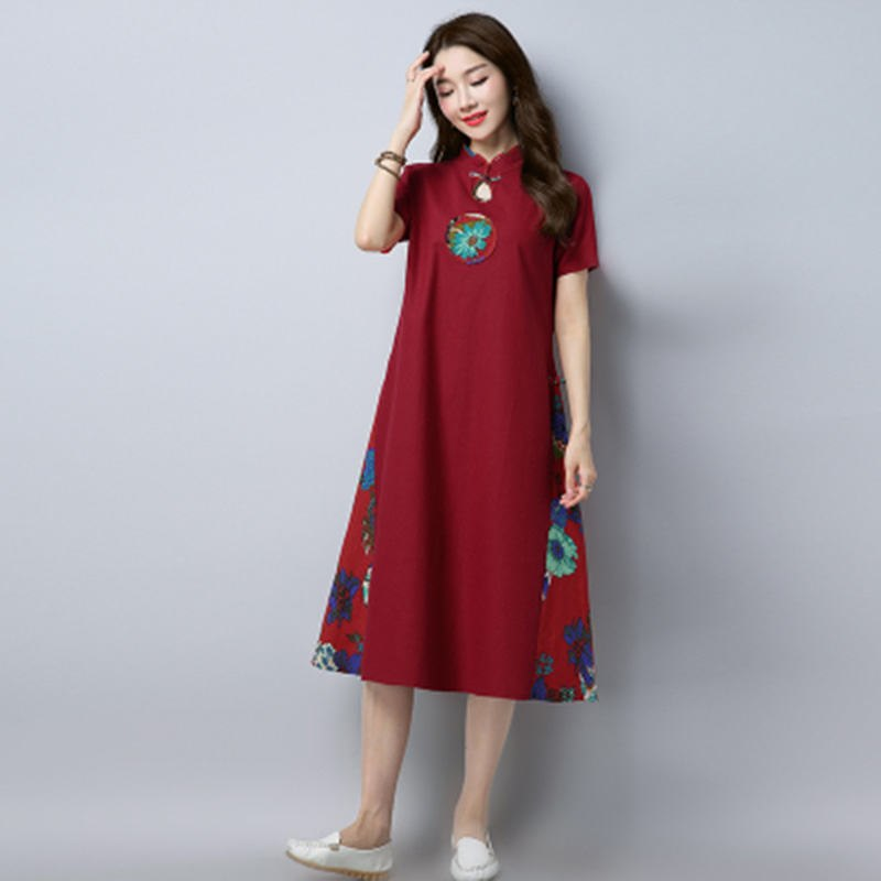 e98600fa2 2018 Summer Retro Folk Style Women's Cotton Line Dress Large Size ...