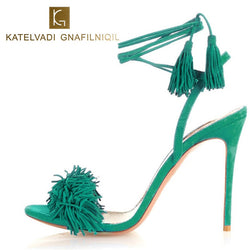 2018 Summer Sandals Women High Heels Fringe Gladiator Sandals Women Lace Up Shoes Woman Flock Sexy Green Ladies Sandals B-0064