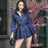 2018 Summer Slim Denim Dress Safari Style Ball Gown Dress Stylish Pockets with Belt Slim High Rise Dress