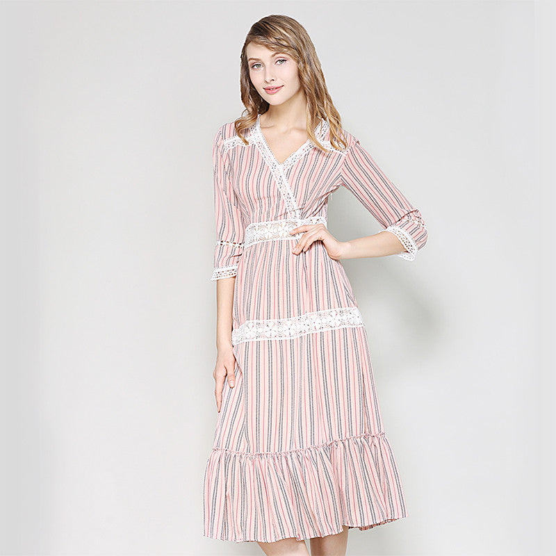 d6b00771354c1 2018 Summer V Neck Lantern Sleeve Vertical Striped Pink Girl Mid-calf  Dresses Flounce Casual Frill Embellished Swing Dress