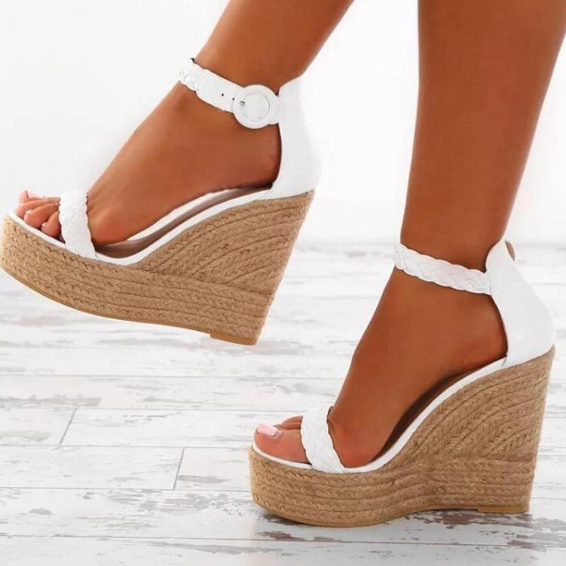 9320d538240a28 ... 2018 Summer Women Sandals Fashion High Heels Buckle Gladiator Sandals  Platform Wedge Shoes for women big ...